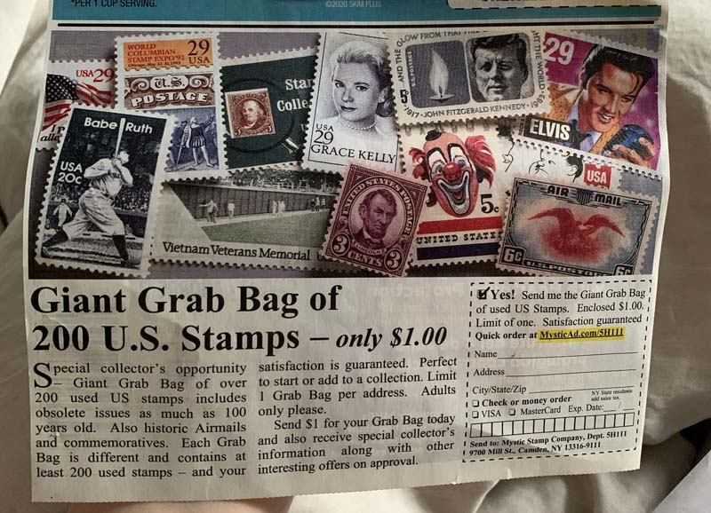 photo of a coupon flyer for buying a stamp grabbag