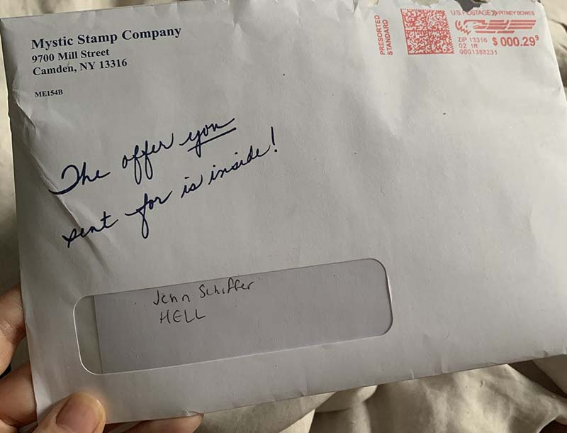 "an envelope addressed to me, address ""hell"""