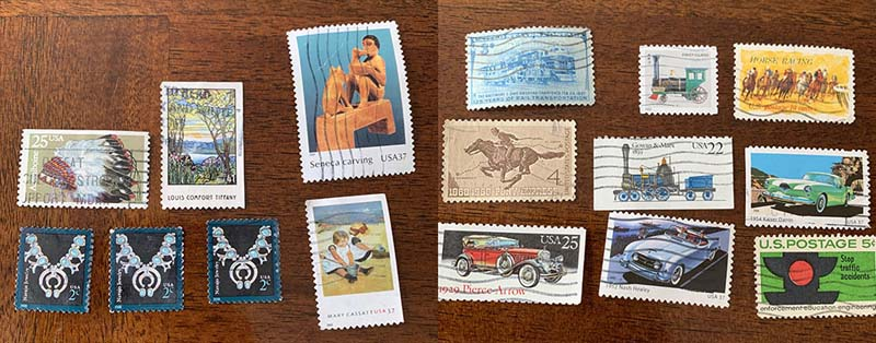 a two panel photo of several art stamps and several transportation related stamps