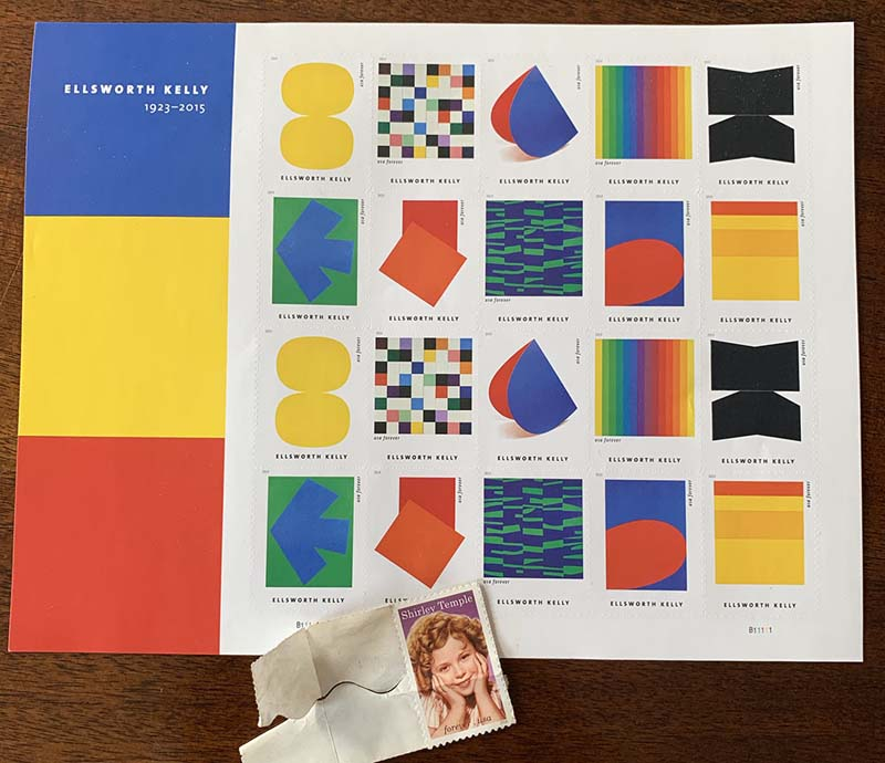 a sheet of ellsworth kelly stamps and a single shirley temple stamp