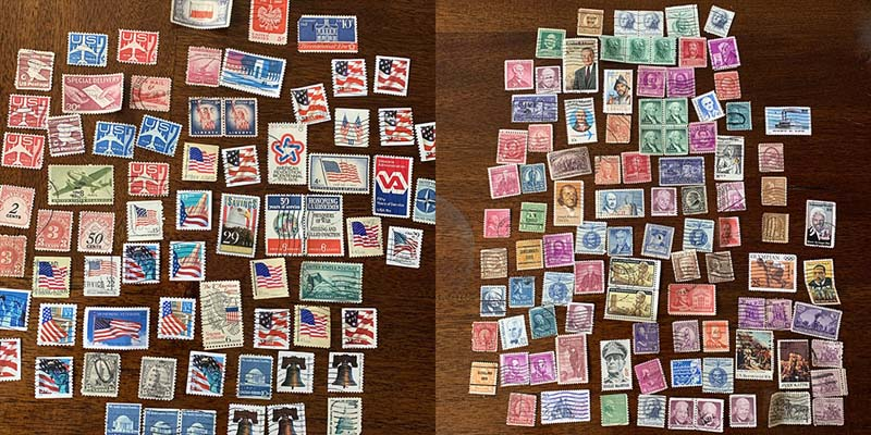 a two panel photo of stamps, many patriotic ones and many ones with faces