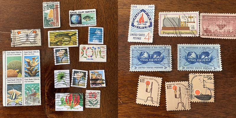 a two panel photo of stamps, several nature ones and several science ones