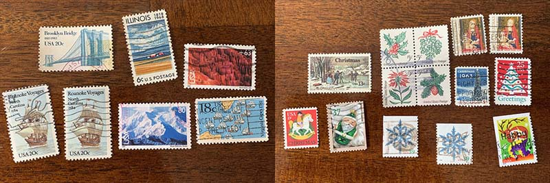 a two panel photo of several geographic stamps and several christmas and snowflake stamps