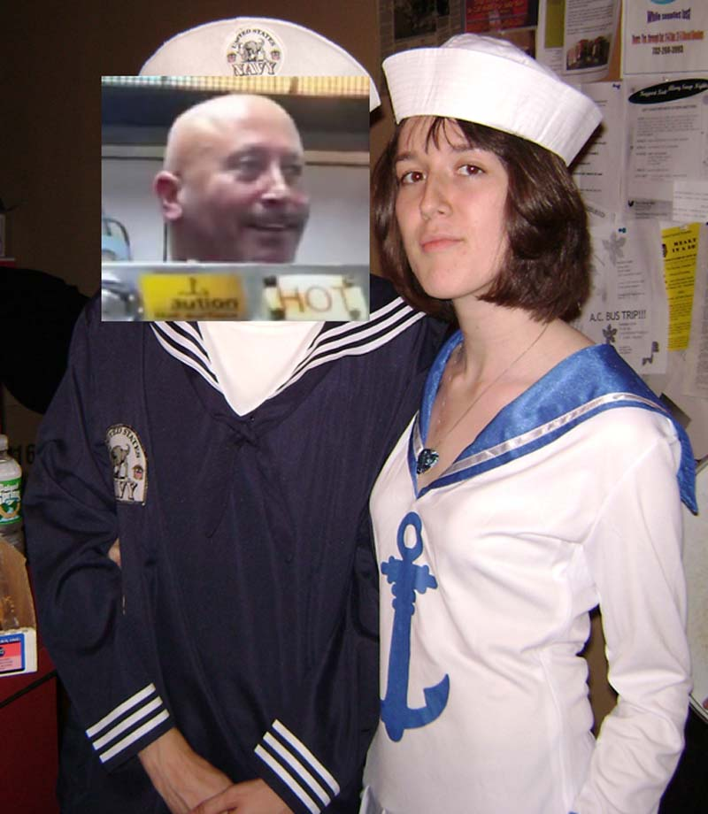 me dressed as a nurse standing next to a man whose face i covered with the pey wet cook