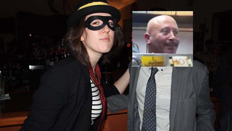 photo of me as the hamburglar sitting next to a man whose face i covered with the pey wet cook
