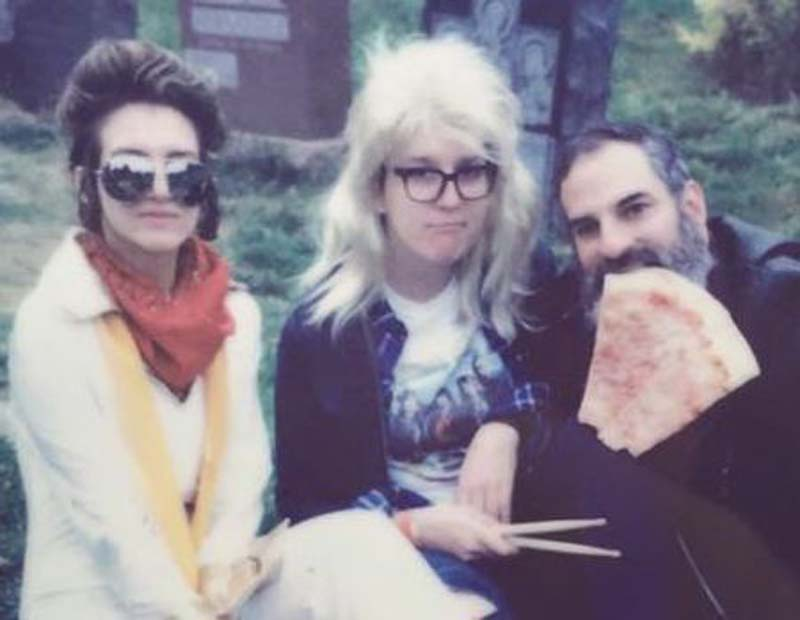 photo of my pal Lisa as Elvis, me as garth, and Bram as pizza rat