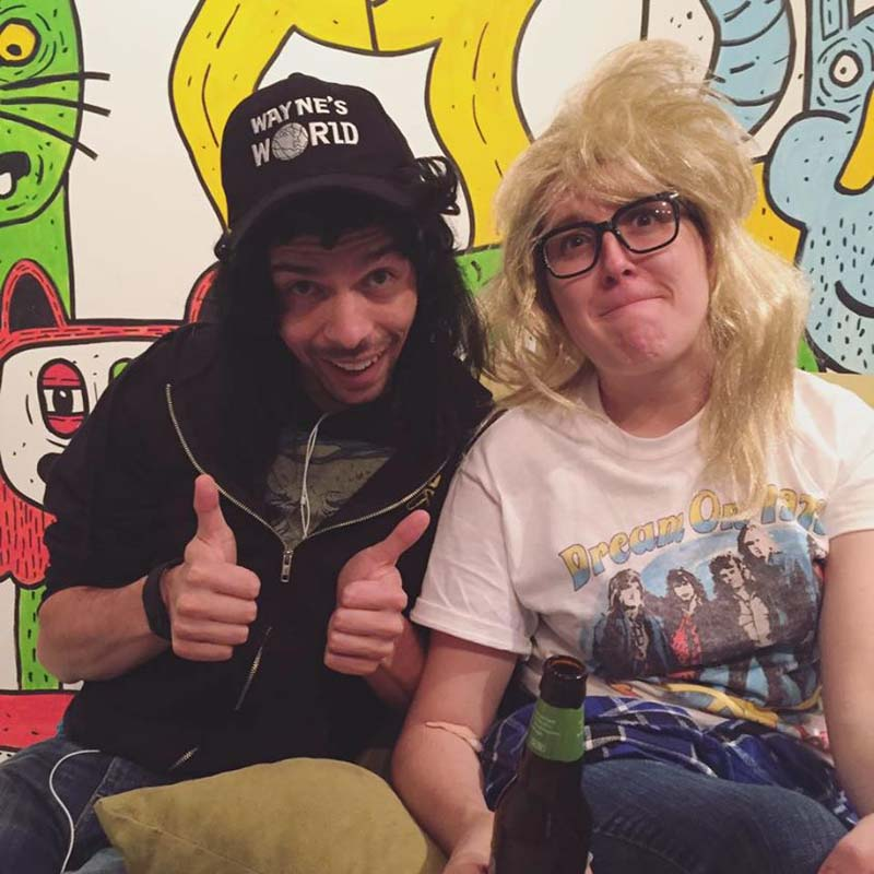 photo of juan as wayne and me as garth