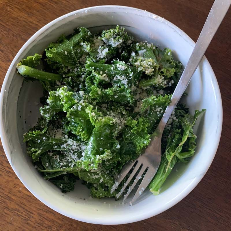 bowl of sauteed kale